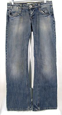 Zara TRF Jeans Sz 6 Distressed Blue Denim Flare Womens