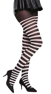 Strumpfhose Pantyhose Halloween Karneval schwarz weiß gestreift Okapi-Knastbraut ()