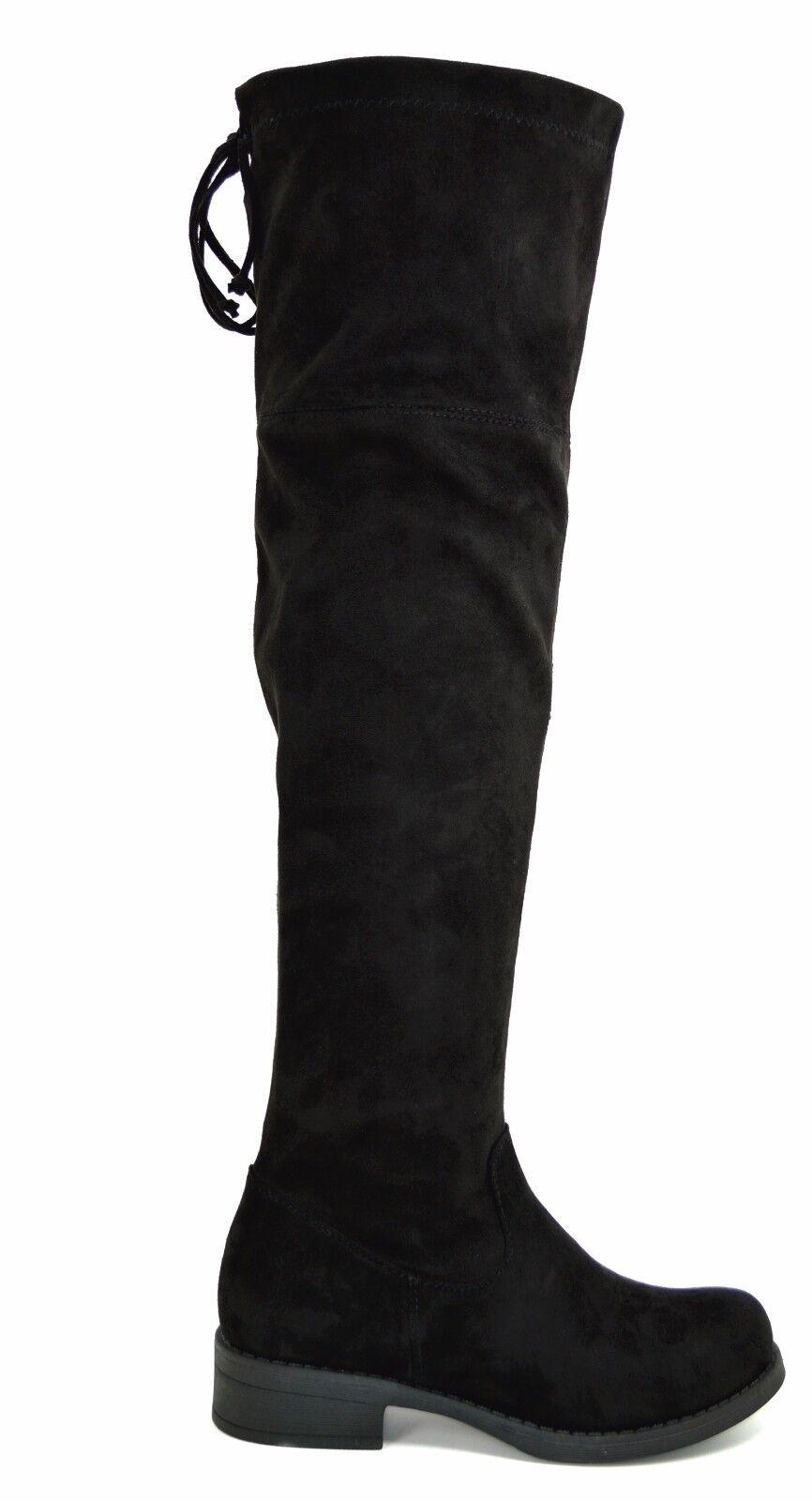 Stivali alti sexy donna al ginocchio tacco basso stivale lungo scamosciato nero