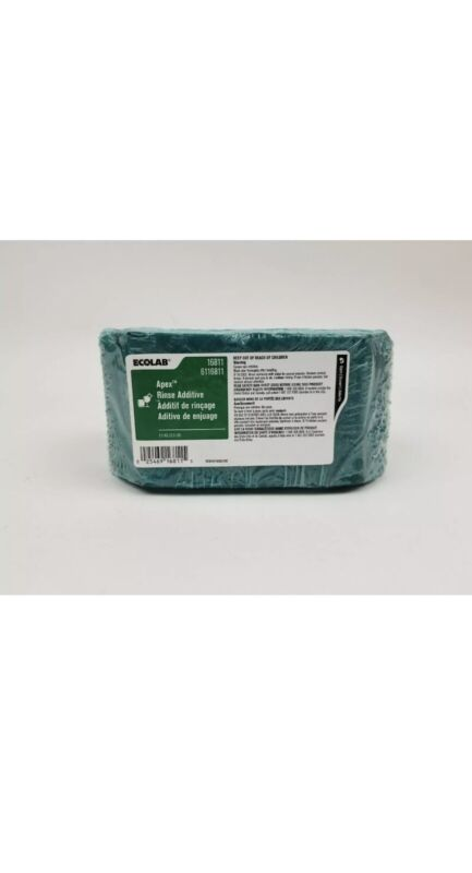 Fresh & Sealed. Ecolab # 16811 Apex Rinse Additive. Solid 2.5lb. Block. (Green).