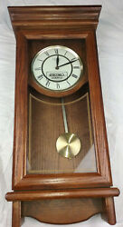 Seiko Quartz Wooden Wall Pendulum Clock QXH101BC Westminster Whittington w/Chime
