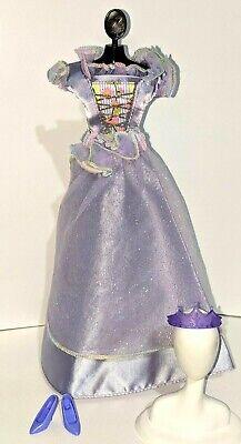 BARBIE Doll Outfit: 2000 DOVE PRINCESS #28264 Lavender Blue Gown Crown Heels Barbie Blue Princess Doll