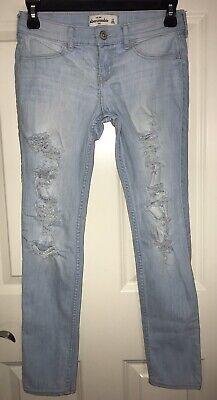 Girls Abercrombie Distressed Denim Jeans Size 14 Light Wash