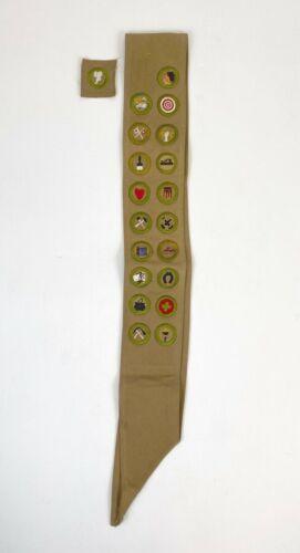 """RARE 1920/30s Fine Antique Boy Scouts Brown Sash W/20 Merit Badges 3 3/4"""" X 30"""""""