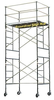 Scaffold Rolling Tower 14 High Working Deck W Railing Cbm Scaffold