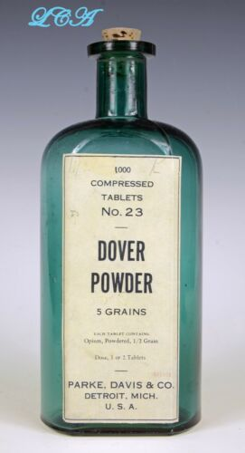 Large TEAL GREEN antique Dover POWDERED OPIUM pill bottle 1000 TABLETS now MT