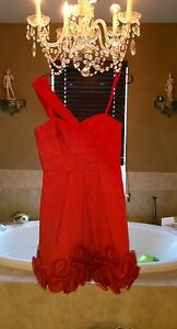 BCBG, SIZE 8 RED Taffetta one shoulder party dress with rosette design