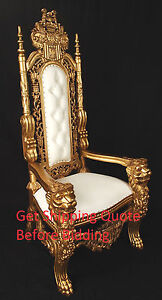 carved mahogany king lion gothic throne chair gold finish with white vinyl