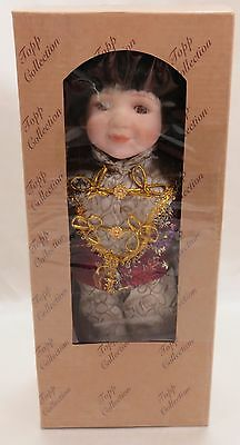 """Asian Porcelain Doll Female12"""" with Stand Topp Collection Never Removed from Box"""