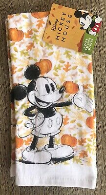 FULL MICKEY MOUSE HALLOWEEN PUMPKINS & FALL LEAVES KITCHEN DISH TOWEL 2-PC SET