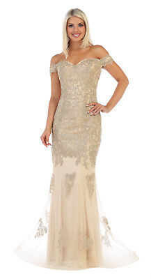 SPECIAL OCCASION OFF SHOULDER FORMAL GOWNS LONG EVENING PROM DRESSES & PLUS (Off The Shoulder Prom Dresses Plus Size)