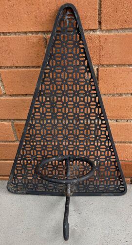 Vintage 50s 60s Black Triangle Iron Plant Holder Mid Century Modern Metal Atomic