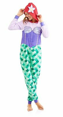 Neuer Frauen Einteiler Disney's Ariel Kapuze Pyjamas Kostüm Union Anzug (Disney Kostüme Frauen)