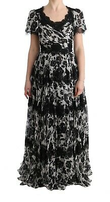 NEW $7600 DOLCE & GABBANA Dress Gown Black White Floral Lace Shift IT36 / US4