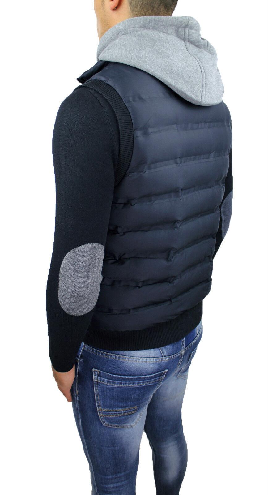 PIUMINO UOMO SMANICATO Gilet Blu Slim Fit Bomber Cardigan
