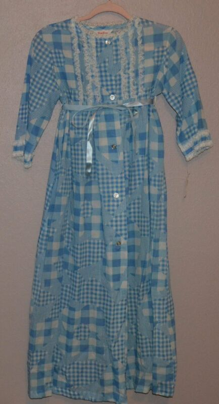 Vintage Tom Girl Girls Robe ~ Nightgown Size 12 Blue & White ILGWU