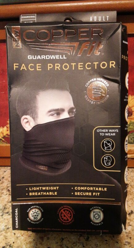 Copper Fit Guardwell Face Protector Mask Gaiter Adult Charcoal/Black New Read
