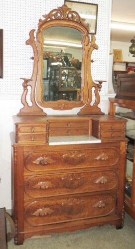 LARGE Antique Victorian WALNUT & MARBLE DRESSER W/ TILTING MIRROR & 9 Drawers