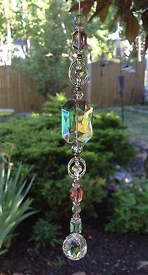 Handmade Healing Amethyst/Green Crystal Swarovski Element Suncatcher/Prism USA