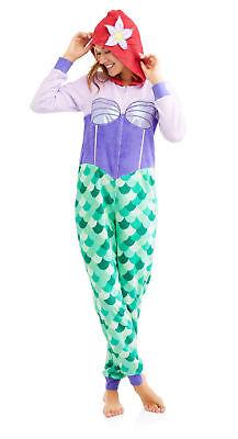 Ariel Hooded Pajama Union Suit Adult One Piece Disney Little Mermaid Costume 2X - Adult Little Mermaid Pajamas