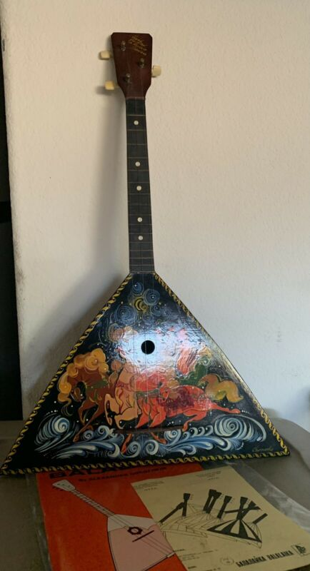 Original Russian  Instrument Balalaika 3 String Hand Painted