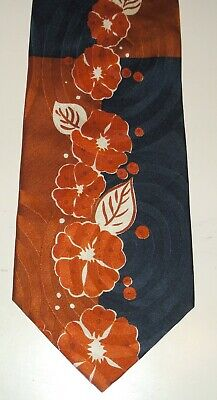 Krawatte Kravatte Binder HUGO BOSS  braun/schwarz mit Blütenranke - 100% Seide