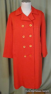 "Chic Vintage 60's 70's Jerold Burnt Orange All Weather Rain Coat Bust 43"""