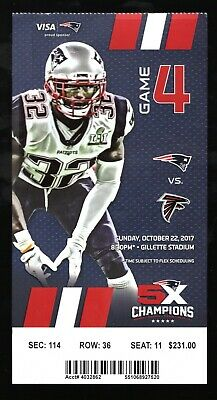 Oct 22, 2017 New England Patriots & Atlanta Falcons Full Ticket Brady 2 TD's