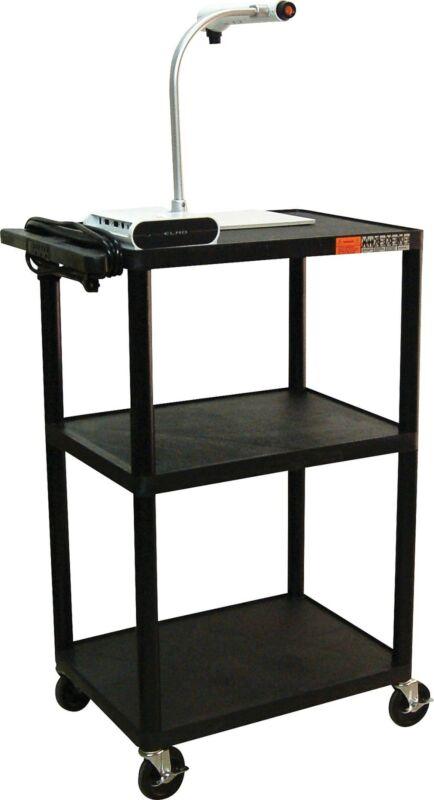Luxor Adjustable Height Plastic AV Cart, Black LPDUOE-B