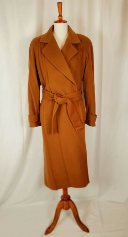 Vintage Size 6 Trench Coat Long Wrap Jacket Cashmere and Wool belted Camel ILGWU