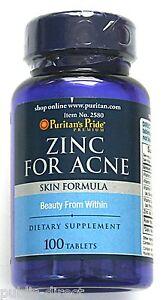 Zinc for Acne 100 Tablet Clear Skin Formula Vitamins Zit Treatment Pills Blemish