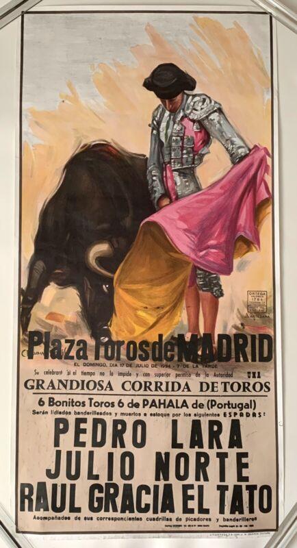 Vintage 1994 Plaza de Toros Madrid Spain Bullfight Poster Print, Ortega Valencia