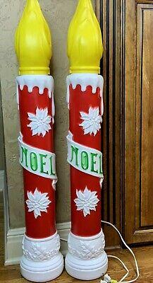 Blow Molds Noel Candlesticks Poinsettia Empire Christmas 2 Vintage #N1
