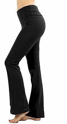 Zenana Premium Cotton Fold Over Waist Flare Leg Yoga Pants Regular -