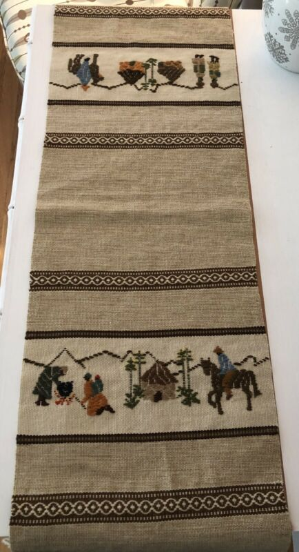 Vintage Thorkild Lesotho Hand Woven Village Scene Table Runner