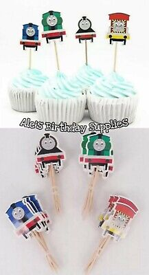 (24) Pc Thomas the Train  Cupcake Toppers Double Sided Birthday - Thomas The Train Cupcake Toppers