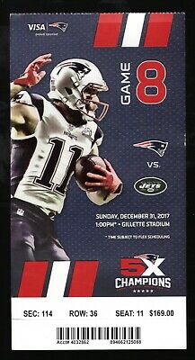Dec 31, 2017 New England Patriots & New York Jets Full Ticket Brady 2 TD's