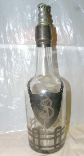 "Vintage Liquor Bottle Decanter Sterling Silver Overlay Glass MONOGRAMMED ""B"""