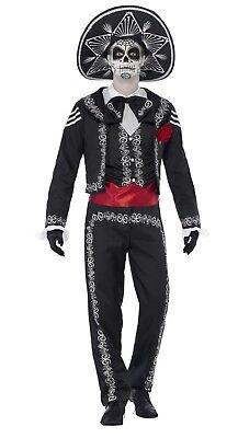 SMIFFY 43738 Mexicaner Senor Knochen Tag der Toten Halloween Herren Kostüm (Herr Der Knochen Kostüm)