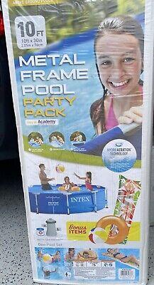 NEW Intex 10ft x 30in Metal Frame Pool Set w/ Filter Pump PARTY PACK BONUS ITEMS