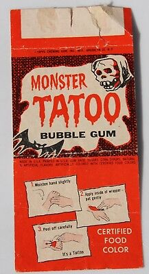 1962 TOPPS MONSTER TATTOO BUBBLE GUM JACK DAVIS Girl running from bat purple (Monster Tattoo)