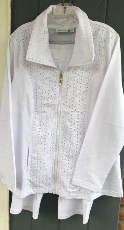 Denim & Co White NEW 2pc Crop Pants & Eyelet Jacket Cotton Blend Outfit MEDIUM