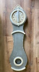 Creative Co-op Distressed Grey Wood Grandfather Style Wall Clock