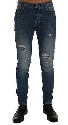 NEW $400 FRANKIE MORELLO Jeans Blue Wash Torn Dunfermile Slim Fit Stretch s. W36