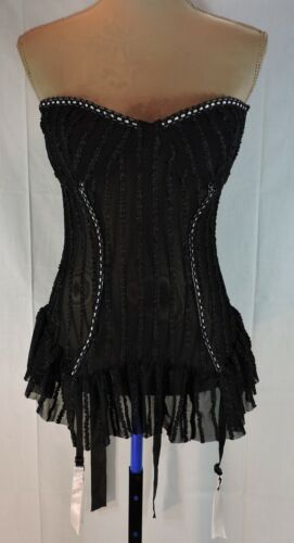 SEXY Black Corset METAL Hardware Padded Bra size 38 LARGE Stocking Clips A+++