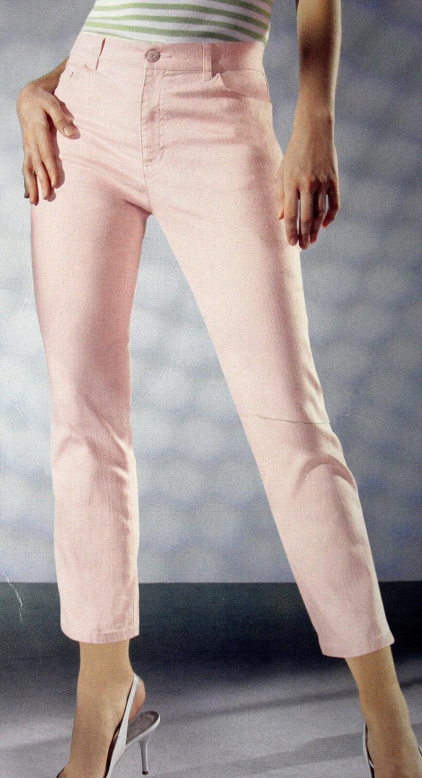 Hose 7/8 Damen 3/4 Hosen Twillhose rosa 5-Pocket Twillhosen
