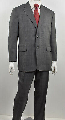 CANALI Italy Gray Glen Plaid Pure Wool 2-Button Double-Vent Suit 46R x 39W
