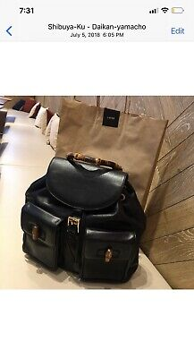 Gucci Vintage Black Leather Bamboo Drawstring Backpack Large Size