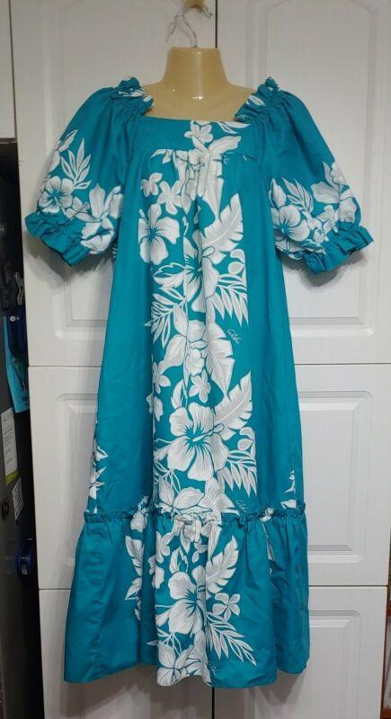 Vtg Tamare Hawaiian Muumuu Dress Teal Floral White Hibiscus M Ruffle Puff Sleeve
