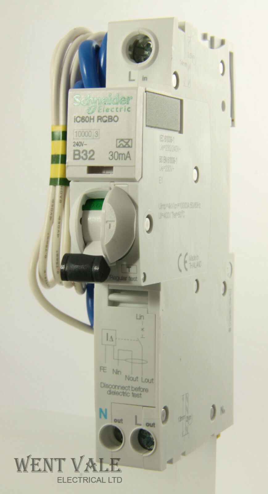 Schneider Acti 9 - iC60HB32R30-A9D31832 - 32a 30mA Type B Single Pole RCBO New